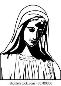 The Virgin Mary Black and White Vector Graphic Illustration