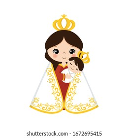 Virgin Mary with child on her arm - vector illustration. The Madonna and Child.Graphic.Virgin Mary and the Child Jesus for Christmas.