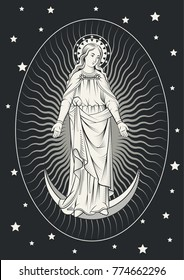 The Virgin Mary Engraving Art