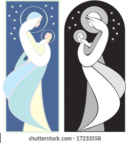 Virgin Mary holding baby Jesus, art nouveau style illustration , in full color and black and white.