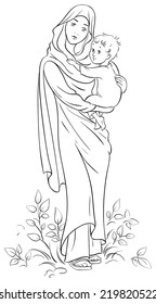 Virgin Mary holding baby Jesus. Christian and Christmas holiday black and white illustration. Coloring page. Also available colored version