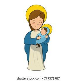 Virgin mary holding baby jesus cartoon