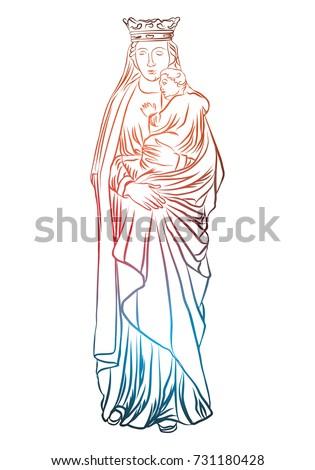 virgin mary holding baby jesus christian stock vector royalty free