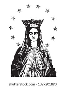Virgin Mary Illustration Catholic Vector