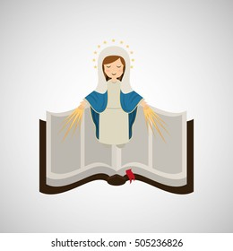 virgin mary immaculate conception bible icon vector illustration eps 10