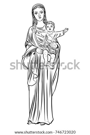 Virgin Mary Tattoo Art Symbol Christianity Stock Vector Royalty