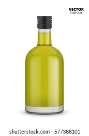 Virgin olive oil bottle vector isolated on white background. Glass bottle with olive or grape seed virgin oil mock up for design presentation ads. Vegetable oil bottle with a stopper