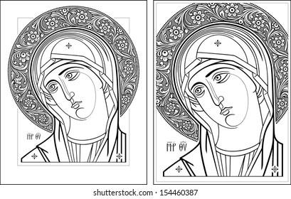 Virgin Oplechnaya outline5-6 vector graphics. Vector illustration, digital art.