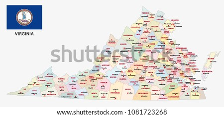 Virginia Administrative Political Vector Map Flag Stock Vector