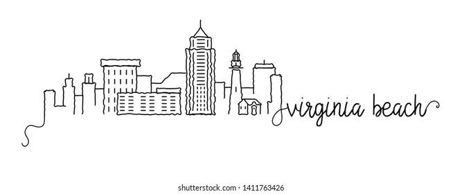 Virginia Beach City Skyline Doodle Sign