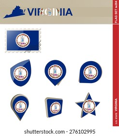 Virginia Flag Set, US state, Flag Set #284. Vector.
