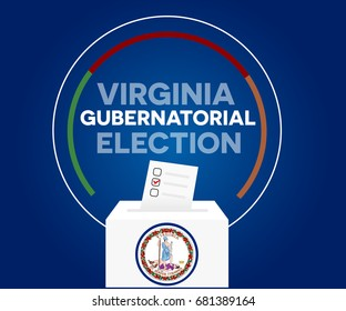 Virginia gubernatorial election, and democracy political process selecting governor or parliament member with election and referendum freedom to vote vector illustration