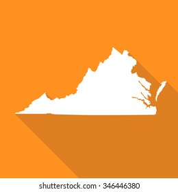Virginia map flat simple style with long shadow.