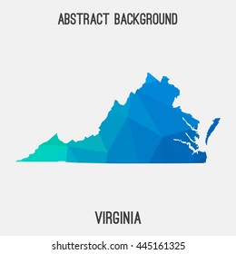 Virginia map in geometric polygonal,mosaic style.Abstract tessellation,modern design background. Vector illustration EPS8
