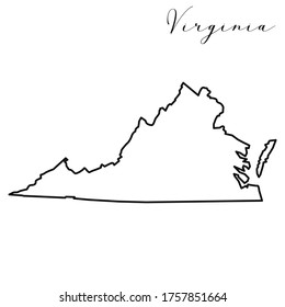 Virginia map high quality vector. American state simple hand made line drawing map