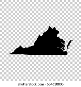 Virginia map isolated on transparent background. Black map for your design. Vector illustration, easy to edit.
