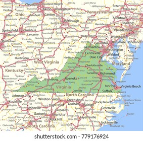 Virginia map. Shows state borders, urban areas, place names, roads and highways.Projection: Mercator.