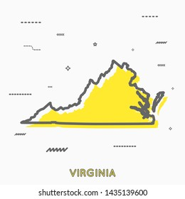 Virginia map in thin line style. Virginia infographic map icon with small thin line geometric figures. Virginia state. Vector illustration linear modern concept