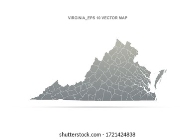 virginia map. vector map of virginia, U.S. states.
