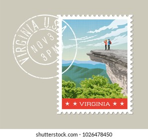 Virginia postage stamp design. Vector illustration of hikers on rock cliff on Appalachian trail. Grunge postmark on separate layer.