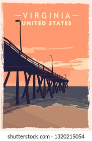 Virginia retro poster. USA Virginia travel illustration. United States of America greeting card. vector illustration.