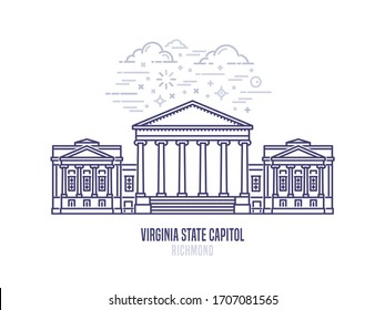 Virginia State Capitol located in Richmond city. The seat of government for the U.S. state of Virginia. The great example of Palladian architecture. City sight linear style vector icon