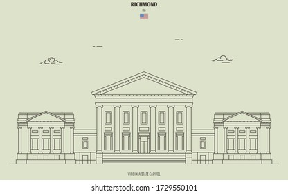 Virginia State Capitol in Richmond, USA. Landmark icon in linear style