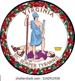 Virginia State Flag Seal Love Heart United States America American Illustration
