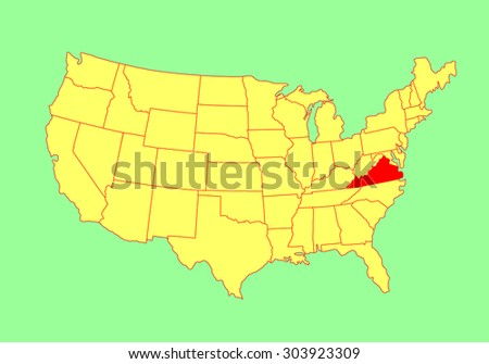 Virginia United States Map.Virginia State Usa Vector Map Isolated Stock Vector Royalty Free
