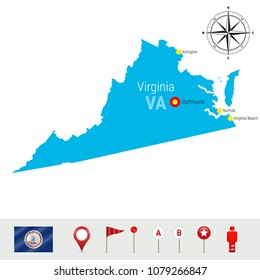 Virginia Vector Map Isolated on White Background. High Detailed Silhouette of Virginia State. Vector Flag of Virginia. 3D Map Markers or Pointers, Navigation Elements. Rose of Wind or Compass Icon