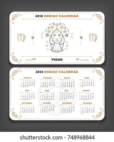 virgo 2018 year zodiac calendar pocket size horizontal layout double side white color design style vector