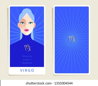 Virgo : Beautiful woman with horoscope sign : Template for tarot cards :Vector Illustration
