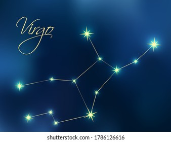 Virgo constellation astrology vector illustration. Stars in dark blue night sky. Virgo zodiac constellations sign beautiful starry sky. Virgo horoscope symbol made of gold star sparkles and lines.