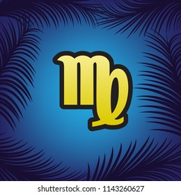 Virgo sign illustration. Vector. Golden icon with black contour at blue background with branches of palm trees.