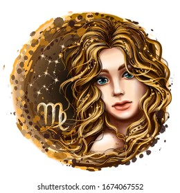 Virgo is a sign of the zodiac. Artistic, color, hand-drawn image of the zodiac Virgo with a symbol and star scheme in watercolor style on a white background.