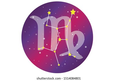 Virgo Signs, Zodiac Background. Beautiful and simple vector images in the midst of a starry galaxy with a constellation of Virgo in the front of the sphere with the Virgo constellation symbol.