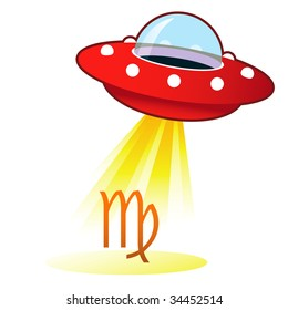 Virgo zodiac astrology sign icon on retro flying saucer UFO with light beam.