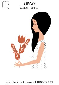 Virgo of zodiac, horoscope concept, vector art, illustration. Beautiful girl silhouette. Astrological sign as a beautiful women. Future telling, horoscope, alchemy, spirituality, occultism, fashion