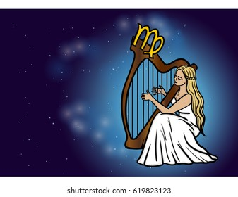 Virgo zodiac horoscope sign girl with long blond hair playing on harp