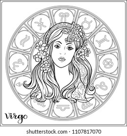 Virgo, Zodiac sign. Astrological horoscope collection. Outline vector illustration. Outline hand drawing coloring page for the adult coloring book.