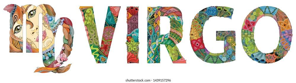 Virgo zodiac sign cute cartoon virgo character retro zentangle stylized in vector