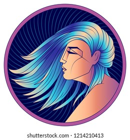 Virgo zodiac sign, horoscope, astrological symbol. Futuristic style icon. Stylized graphic  profile portrait of the young beautiful woman with long, straight blue hair flowing in the wind. Vector art.