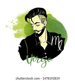 Virgo zodiac signs as men illustration. Watercolor and sketch vector illustration
