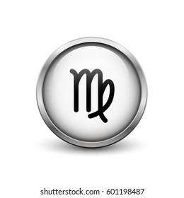 Virgo zodiac symbol, white button with metal frame and shadow