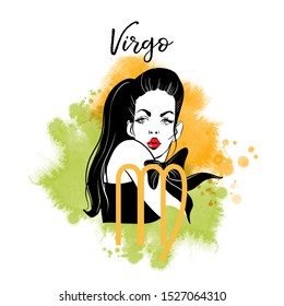 Virgo-girl. Zodiac signs girl illustration.Vector sketch and watercolor background.