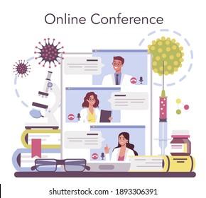 Virologist online service or platform. Scientist studies viruses and bacteria.. Online conference. Isolated vector illustration