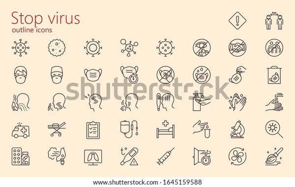 Virology outline iconset. Was created with grids for pixel perfect.