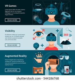 Virtual 360 degree augmented reality games experience 3 flat horizontal banners set webpage design isolated vector illustration