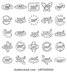 Virtual 360 degrees icons set. Outline set of virtual 360 degrees vector icons for web design isolated on white background