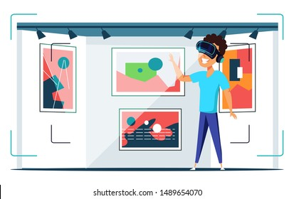 Virtual art gallery visit flat vector illustration. Happy teenager wearing VR helmet cartoon character. Boy in AR headset looking at paintings. Museum in augmented reality, immersive experience